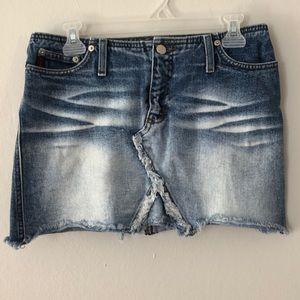 Mudd Distressed Jean Skirt